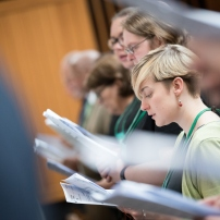 15 June 2018, Geneva, Switzerland: Miriam Weibye. Opening prayer. With a densely packed agenda, the chief governing body of the WCC, the Central Committee, gathers for its biennial meeting on 15-21 June 2018. Among the chief tasks are a midterm review of the council's programmes, decisions about the venue and theme of the next WCC assembly in 2021, monitoring and evaluating the ongoing foundational work of the Pilgrimage of Justice and Peace, updates on the emerging Green Village real-estate development, reception of the new landmark study of ecumenical diakonia (the churches' service), and addressing a variety of public issues.